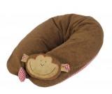 Patentiertes* Stillkissen Affe mit abnehmbarem Rasselkopf, kontrolliert biologischer Anbau, GOTS zertifiziert,  Inlett gefüllt mit Dinkelspelzen
