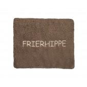 Dinkelkorn - Wärmekissen - tolle Sprüche: FRIERHIPPE, Farbe schlamm, 100 % Made in Germany