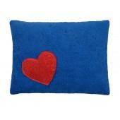 Efie Kissen blau, Herz, aus kontrolliert biologischer Baumwolle (kbA), 100 % Made in Germany