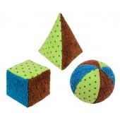 3er SPAR Set, Spiel-Rassel Teile, grün/braun/blau, kontrolliert biologischer Anbau, 100 % Made in Germany