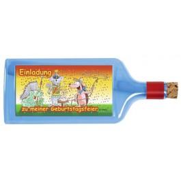 Flaschenpost®, blau, Motiv Kindergeburtstag