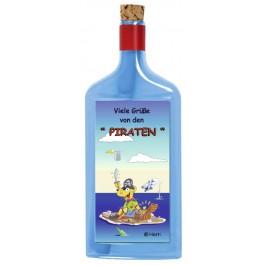 Flaschenpost®, blau, Motiv Grüße von den Piraten