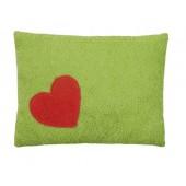 Efie Kissen grün, Herz, aus kontrolliert biologischer Baumwolle (kbA), 100 % Made in Germany