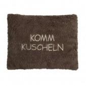 Kirschkern-Wärmekissen - tolle Sprüche: KOMM KUSCHELN, Farbe schlamm, 100 % Made in Germany