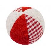 Rassel Ball weiß/rot, kontrolliert biologischer Anbau, 100 % Made in Germany