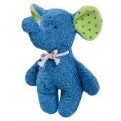 Rassel Elefant blau, GOTS zertifiziert, kontrolliert biologischer Anbau, 100 % Made in Germany